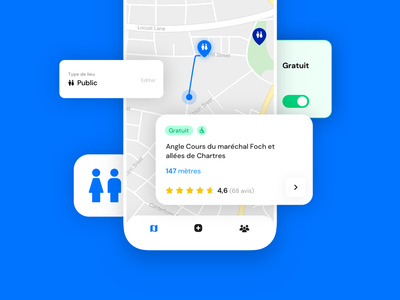 ToiletFinder App 💙 mobile map icon tabbar elements search toilet iphone branding design button ios interface app ux ui