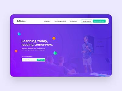 [Concept] SkillAgora header concept ✍️ website branding picture app mac button animation illustration 3d ui web header interface