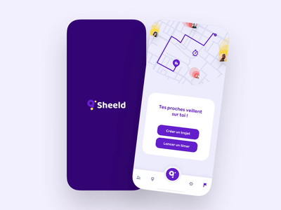 Sheeld app 🦋 2/2 vector interface iphone android ios ux ui animation logo branding mobile map app