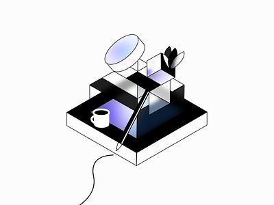 Abstract isometric experimentation ⬛️ mobile illustrator 3d white black branding blur vector design isometric illustration ui