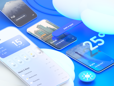 Clean Weather App ☀️ button c4d ux glassmorphism blue temperature iphone illustration branding design clouds app weather sky interface ui