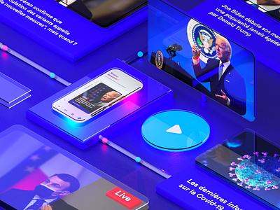 News App Concept Design - 3D Key Visual 💎 app ui iphone glassmorphism mobile button ios branding illustration design 3d ux news app ui