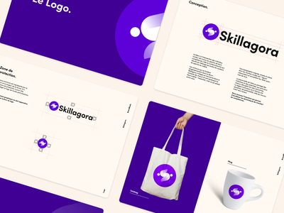 Skillagora logo (branding) 🟣 vector conception skillagora app illustration ui design manual mockup logo book typography colors brand identity branding