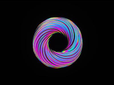 Irridescent loop (3d experimentation) neon c4d ui design loop octane animation branding illustration motion design 3d irridescent