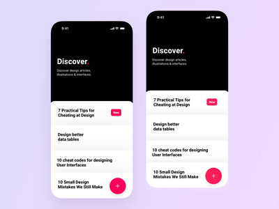 Discover scroll interface 🤘 principle mobile scrolling black iphone interface interaction scroll design app ux button animation ios ui
