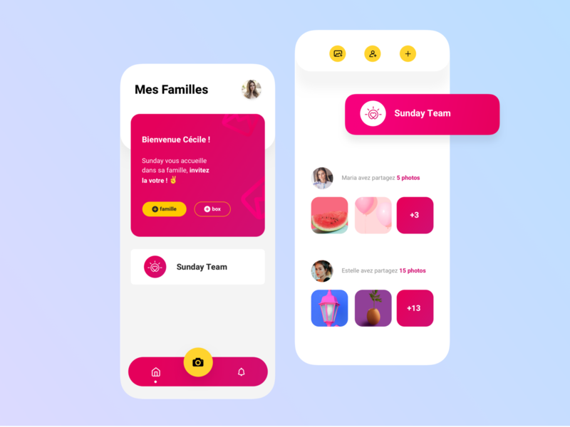 Sunday App 🥰 illustration share photos interaction social app button animation pink interface iphone ios app ux ui