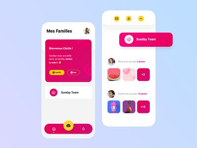 Sunday App 🥰 illustration share photos interaction social app button animation pink interface iphone ios app ux ui