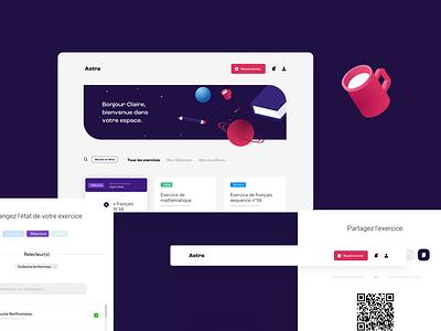 astra teacher interface web icon design illustration exercices app desktop buttons ui ux school teacher interface