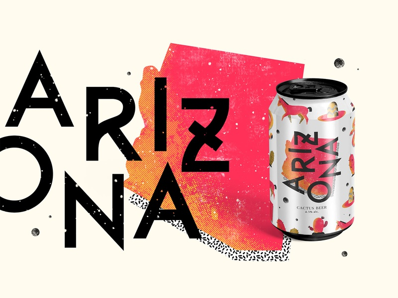 'ARIZONA' Cactus Craft Beer - Packaging Design textures snake packaging mockup beer can beer packaging packaging illustration packaging design desert usa arizona cactus beer packaging branding katycreates design nature colourful procreate illustration