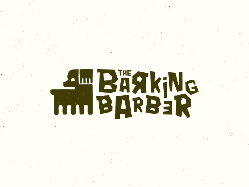 The Barking Barber - Brand Design Exploration identity branding branding concept handmade rough fun illustration personal project business card design mockup graphicdesign logodesign playful dog logo grooming dog grooming barber dog logo branding