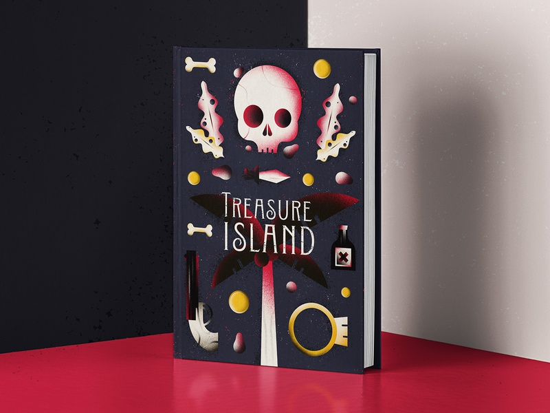 TREASURE ISLAND Book Cover - Dribbble Weekly Warm Up editorial illustration book illustration book cover book cover design skull digital illustration dribbbleweeklywarmup adventure childhood treasure hunt treasure pirates novel book treasure island treasure map katycreates procreate illustration