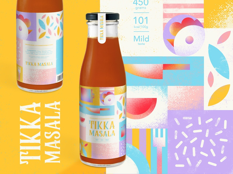 Tikka Masala - Bottle Label Design & Cook Book recipes pastel colors book food illustration tikka masala fresh fun playful food and drink kitchen sauce packaging design bottle lable label design cook book cooking indian food food colourful illustration