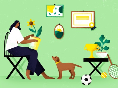 Home owners are happier - Illustration for ListReports yellow green digital illustration dog illustration happiness happy life woman pet dog home owner home shareable freelance illustrator comission listreports plants colourful procreate illustration
