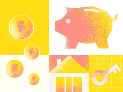 Colourful illustration for ListReports money management listreports freelancer illustrator facts loans piggy bank selling sale money transfer house dollar coin home owners home loan money colourful procreate illustration