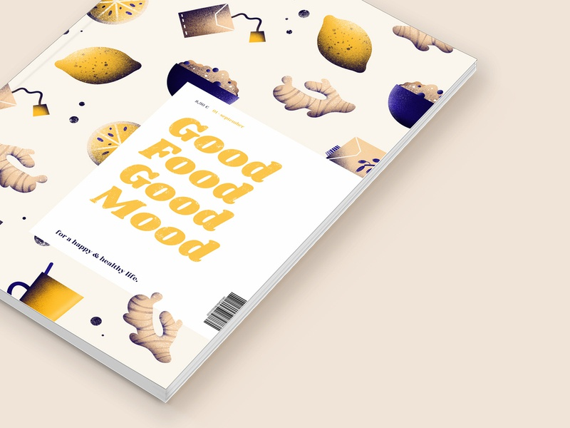 Good Food Good Mood - magazine cover concept pattern design eating food editorial illustration editorial design digital illustration magazine illustration cover design magazine cover magazine design magazine healthy food healthy eating healthy lifestyle procreate design illustration