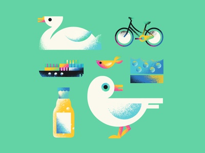 Moin Hamburg - Game Illustrations for Memo Double Trouble fish fun memory game memory game illustration app commission freelance illustrator animals nature swan ship sightseeing seagull moin texture hamburg colourful procreate illustration