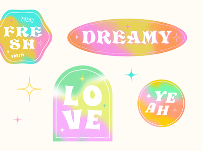Retro Badges for GIPHY ✨ personal work fresh love yeah dreamy animated gif vibe 70s 80s 90s retro gradient giphy sticker stickers giphy gif animation gif animation colourful katycreates