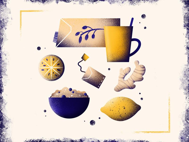 stay healthy blue yellow texture good healthy food vitamins breakfast club oats breakfast drink ginger fall autumn cold teabag tea lemon healthy procreate illustration