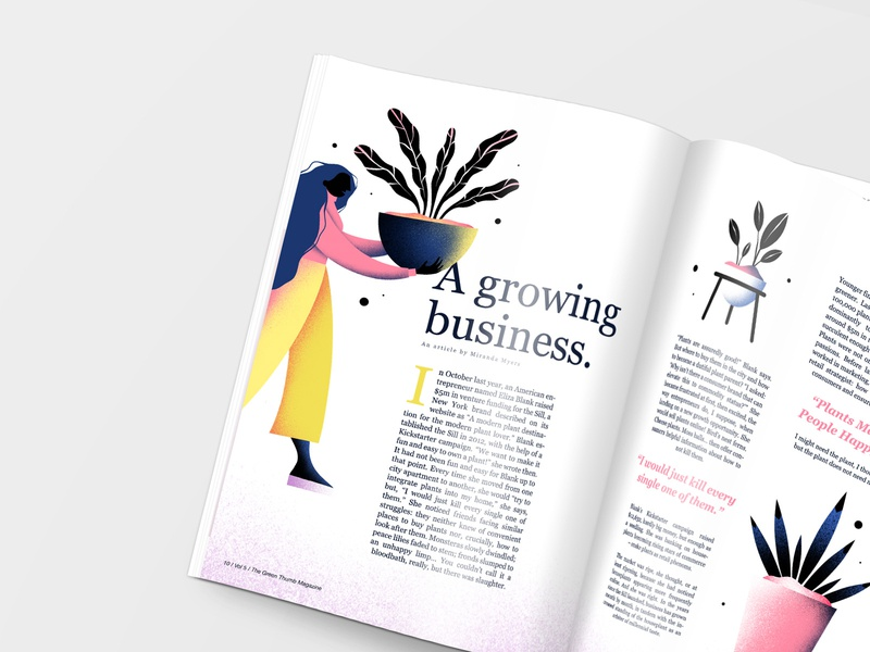 Illustration Mockup for The Green Thumb Magazine katycreates plant lovers article mockup house plants greenery magazine illustration magazine girl plant illustration colourful plant lady nature plants procreate illustration