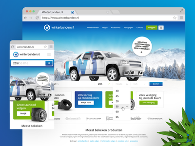 Webdesign of Winterbanden.nl winter website webdesign uxui tires tablet responsive phone online identity desktop car