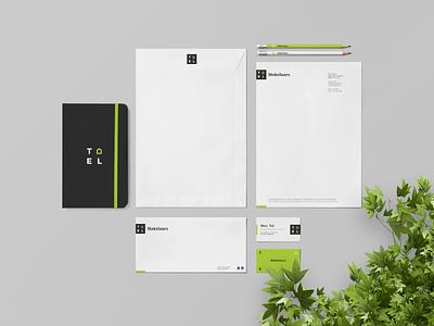 Corporate identity of Tel sleek recognition realtor new modern logo identity home dutch design creative clean branding archetypal