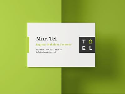 Business card of Tel logo creative modern sleek clean visit businesscard home house green identity branding realtor dutch archetypal