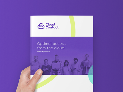 Optimal access from the cloud identity branding network purple colors hand print client proposal leaflet brochure logo company contact cloud access optimal