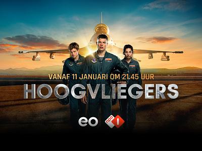 Hoogvliegers pilot plane movie poster branding campaign eo graphics serie television film design visual keyvisual