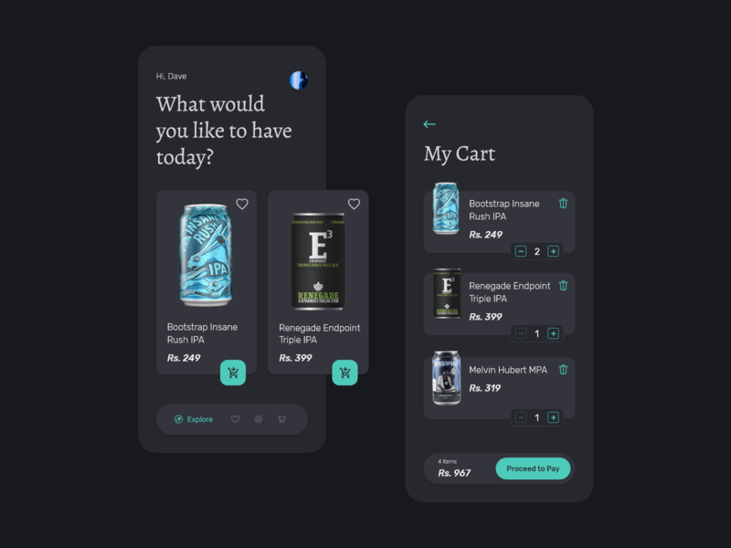 Beer App UI Concept - Dark Theme xddailychallenge xd design user inteface explorations ui design uiux ui dark app ui modern design my cart cart dark theme dark mode dark app dark ui dark alchohol beer app beer can beer