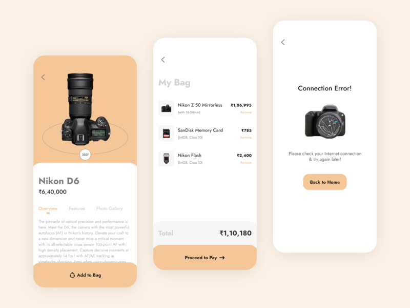 E-commerce App : Product Buying Journey uxdesign dailyui typography ecommerce app ecommerce uidesigns camera product design product page error 404 error uiux uidaily uidesigner mybag mycart cart uidesign user inteface ui