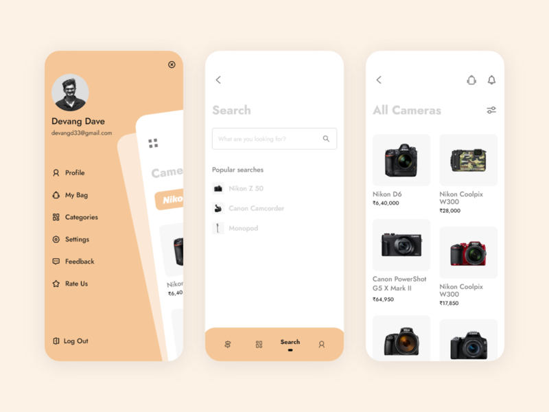 E-commerce App : Search, Products & Side Bar camera app online store ecommerce uxdesign product designer product design ux research ux userinterface dailyui search suggestions filter products search engine searching search side menu sidebar ui