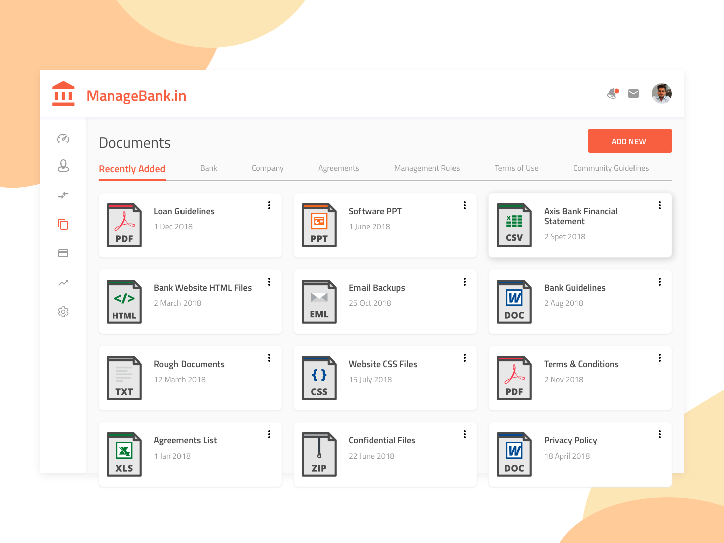 Managebank In Documents Screen by Devang Dave on Dribbble