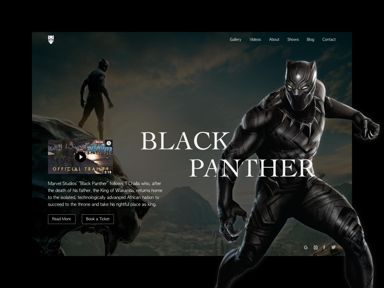 Black Panther Redesign Concept web typography dribbble best shot illustration vector logo ui ux wakanda superheros superhero marvel comics website builder website creator website concept website ui movie website movie panther black panther