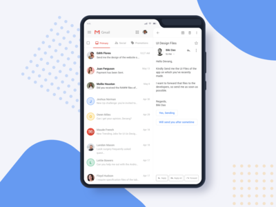 Gmail on Samsung Galaxy Fold (Rebound Shot) samsung uiux ui designer dailyui ui design app exploration material design 2 materialdesign google design gmail design gmail app neat design clean design modern ui foldable phone fold phone samsung galaxy galaxy fold gmail