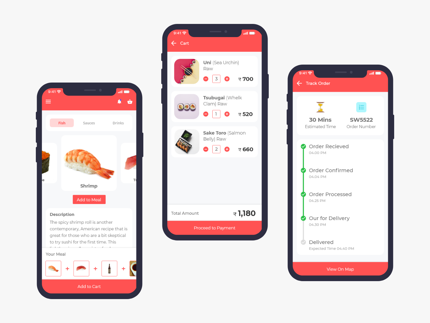 Sushi Ordering User Interface payment process sushi food uplabschallenge uplabs food delivery app online food restaurant app ui restaurant app food app ui delivery service delivery status track order my cart cart product view user interface app app interface sushi restaurant app sushi