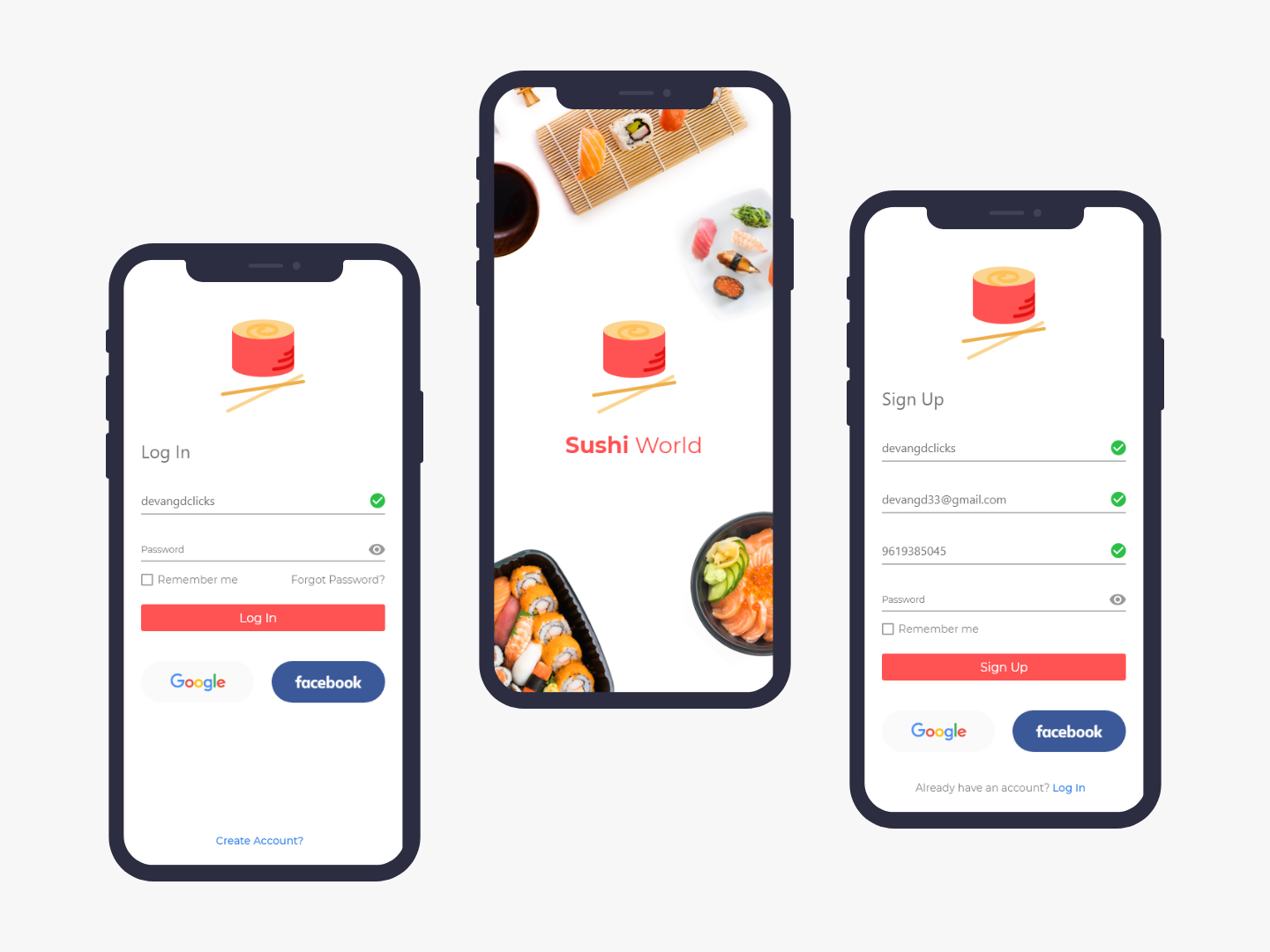 Sushi App Welcome, Log In & Sign Up Screen uplabs user interface design userinterface app ui signupform sign in login page welcome screen landing screen food app ui login design login form restaurant app food app signup page signup login screen login sushi dish sushi app