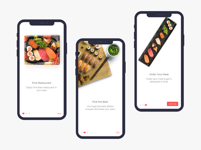 Onboarding Screens for Sushi App uplabs uidesign uiux user interface design user interface food and beverage foodie food app ui ios app ios restaurant app restaurant food app sushi app onboarding screens onboarding screen onboarding ui onboarding sushiapp sushi