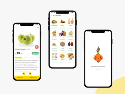 Groceee app - Product, Categories & Error design ui user inteface uplabs online store online shopping ecommerce product page category page category icons error message error category categories product design products page products appui grocery app groceee