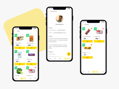 Groceee app - Offers, Profile & Favorites daily dribbble best shot user inteface online shop online store commerce online store online shopping ecommerce profile design uilovers offerzone offers zone offers listui favorite profile card profile page profile uplabs groceee
