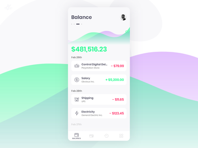 Balance · Wallet app concept phone vibrant colors modern mobile minimal challange design balance account money webdesign wallet concept app