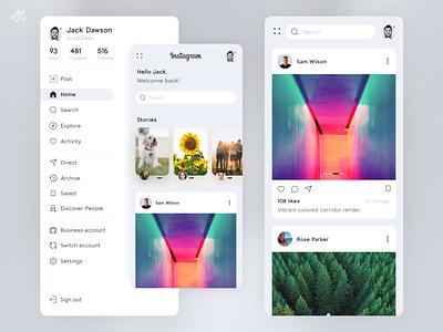 Instragram · Redesign concept instagram app design modern challange ux  ui redesign mobile phone app design