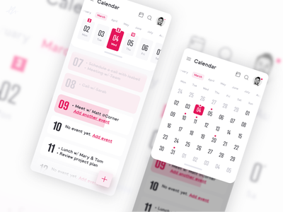 Calendar · App concept mobile phone challange ux ui design modern application app design design concept app