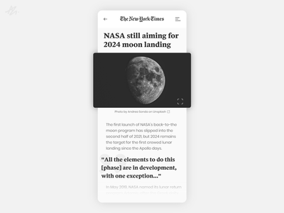 The New York Times · Post Redesign Concept modern app design design ui design ux design mobile phone blog post minimal moon black and white the new york times concept redesign app