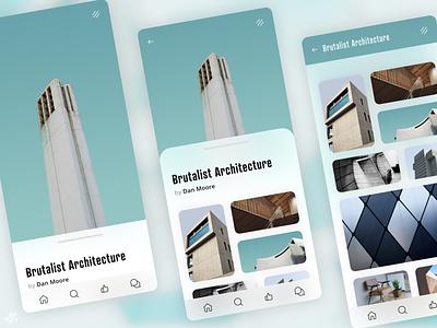 Architecture Gallery · Concept app modern app design ui design ux design mobile phone ios brutalist architecture gallery design concept app