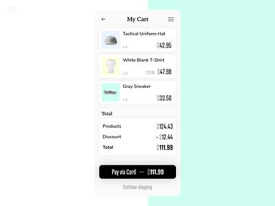 My Cart · App screen Concept minimal design ui ux pastel color ui design ux design app design phone mobile ios screen ecommerce checkout cart concept app
