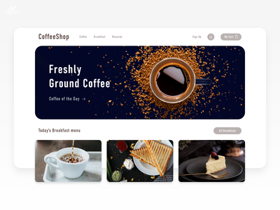 Coffee shop · Landing page homepage home ecommerce page landing page ui design ux design design web design website ux ui breakfast shop coffee concept web