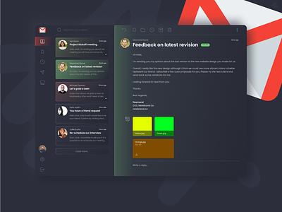 Gmail Redesign · Dark UI Concept redesign dark theme dark ui dark mode gmail email client email webdesign