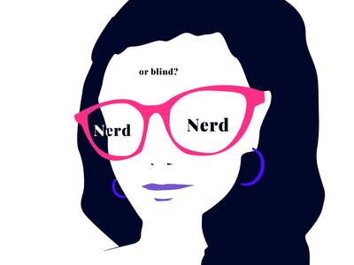 Girl with Glasses Nerd or Blind? printdesign poster graphic art illustration