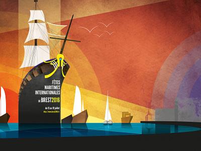Poster for vessels festival in Brest boat ship vessel vector design illustration