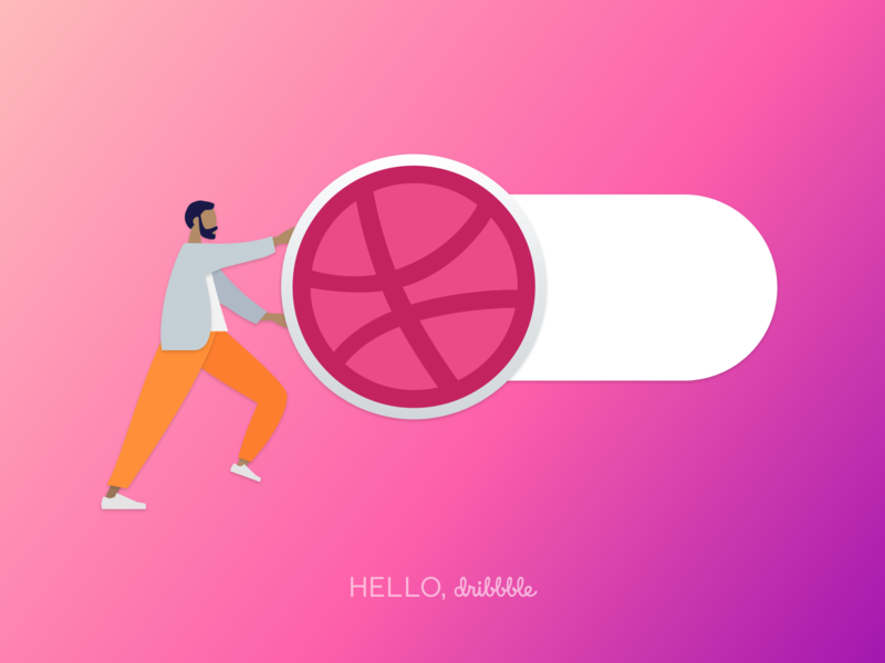 Hello, Dribbble gradient illustration design humaaans debutshot debut